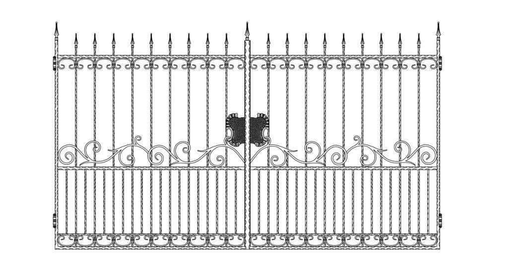 Кованые ворота эскиз №2
