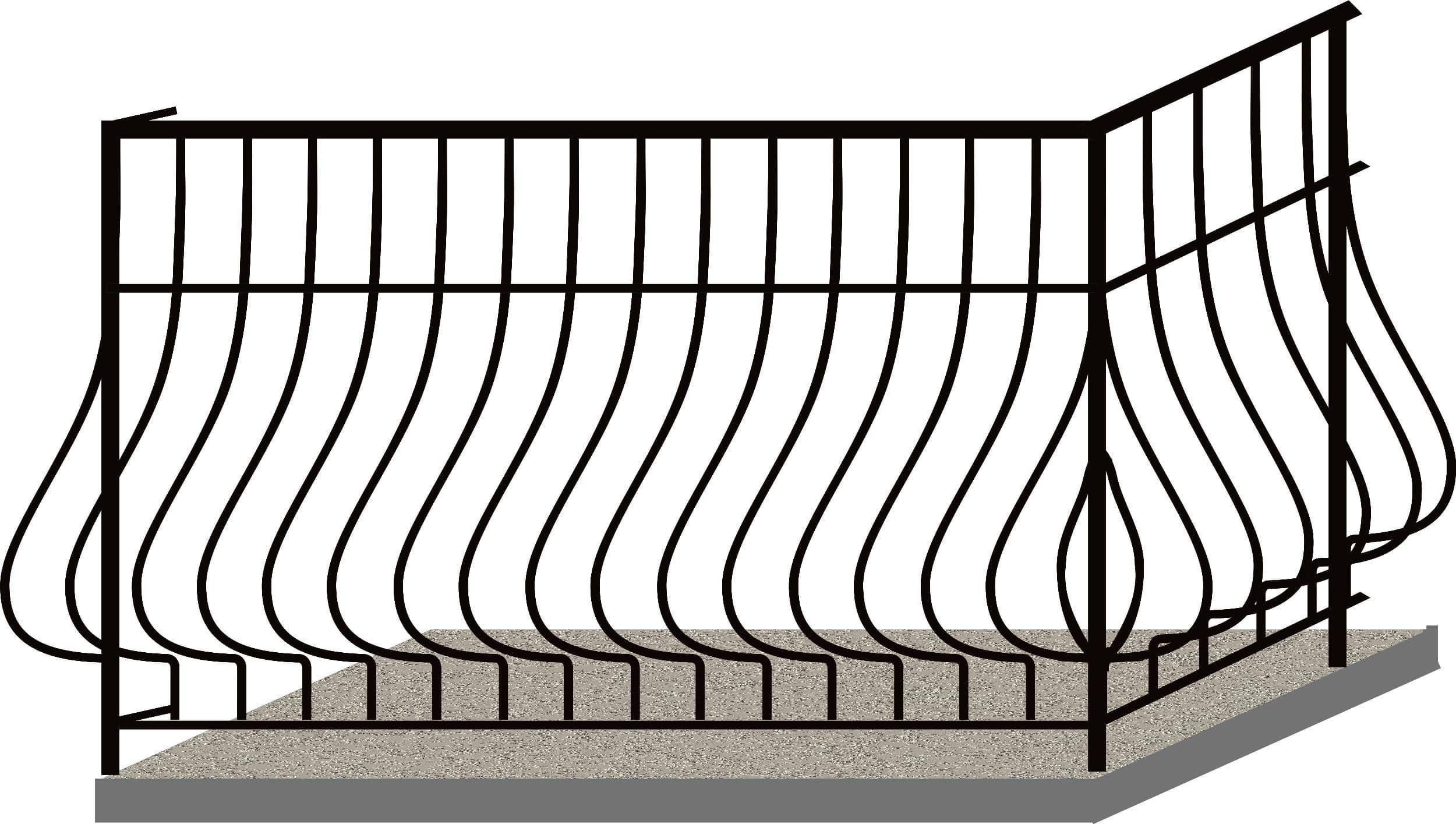 Эскизы балконных ограждений. Код 4-01