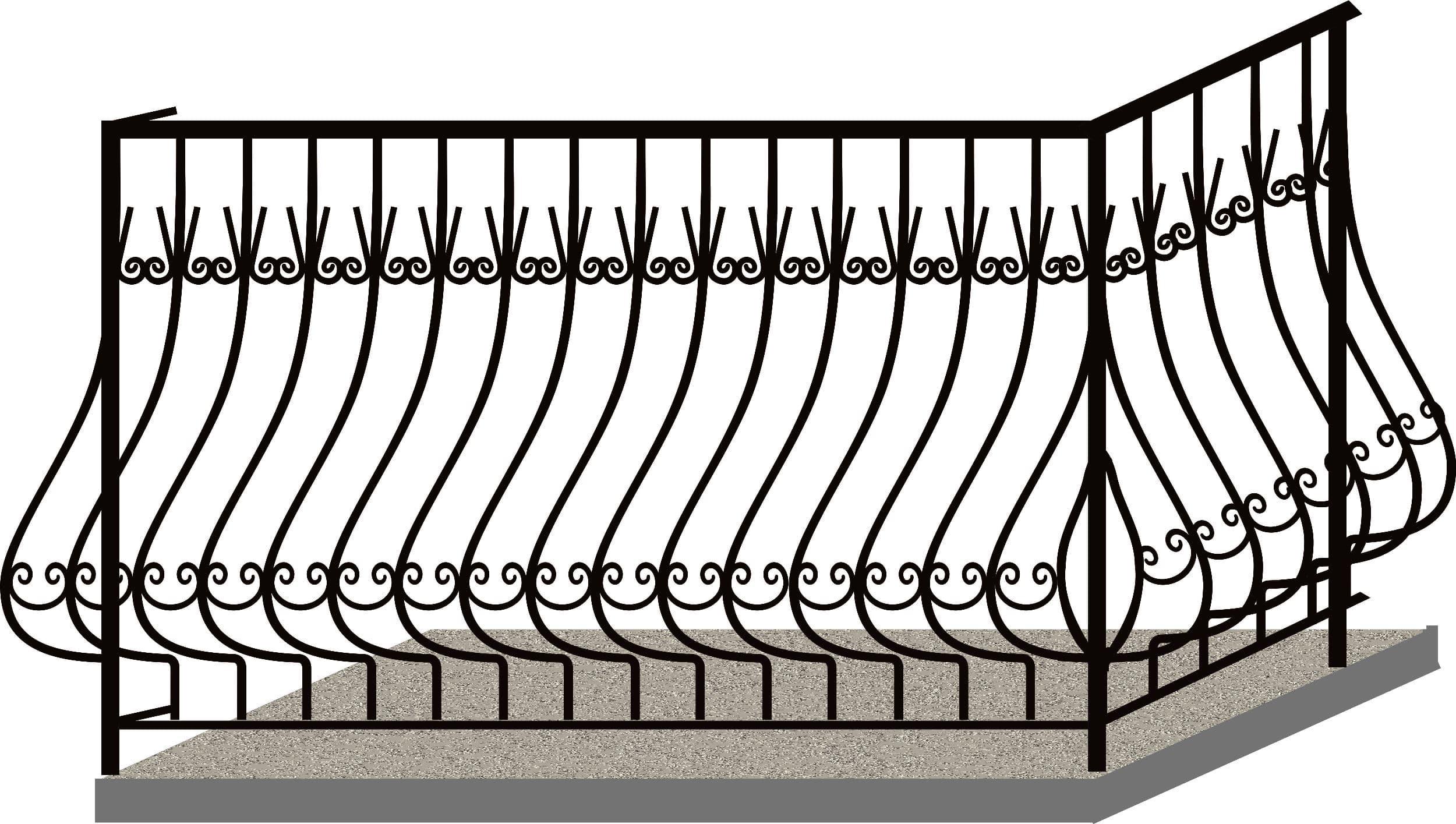 Эскизы балконных ограждений. Код 4-02