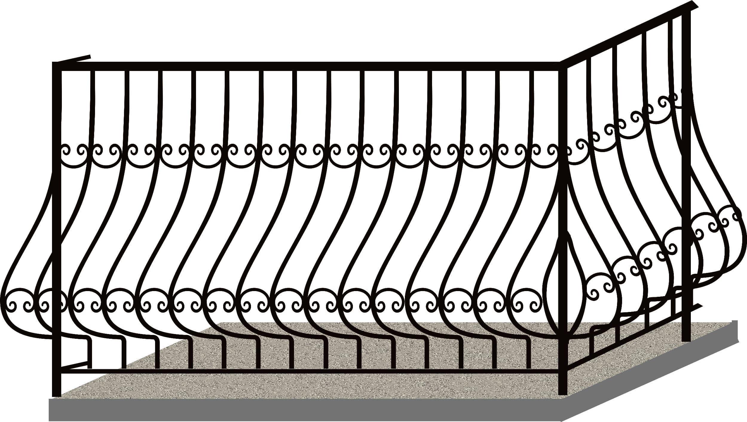 Эскизы балконных ограждений. Код 4-03