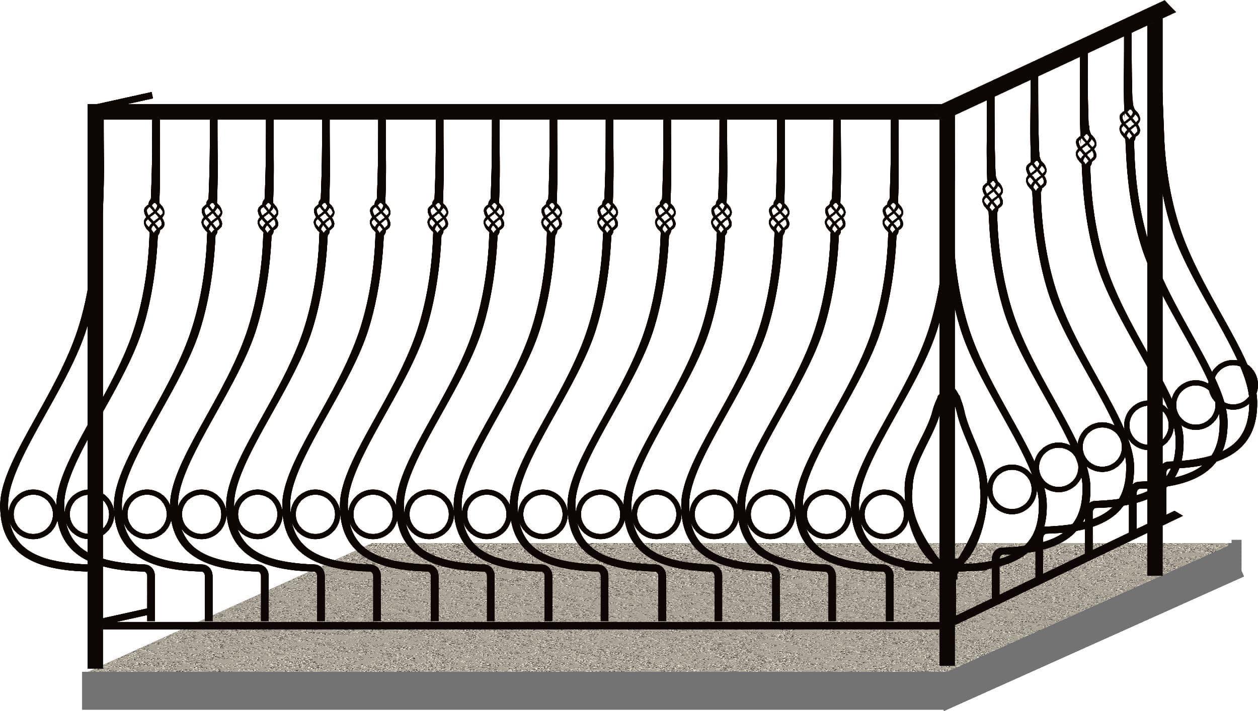 Эскизы балконных ограждений. Код 4-04