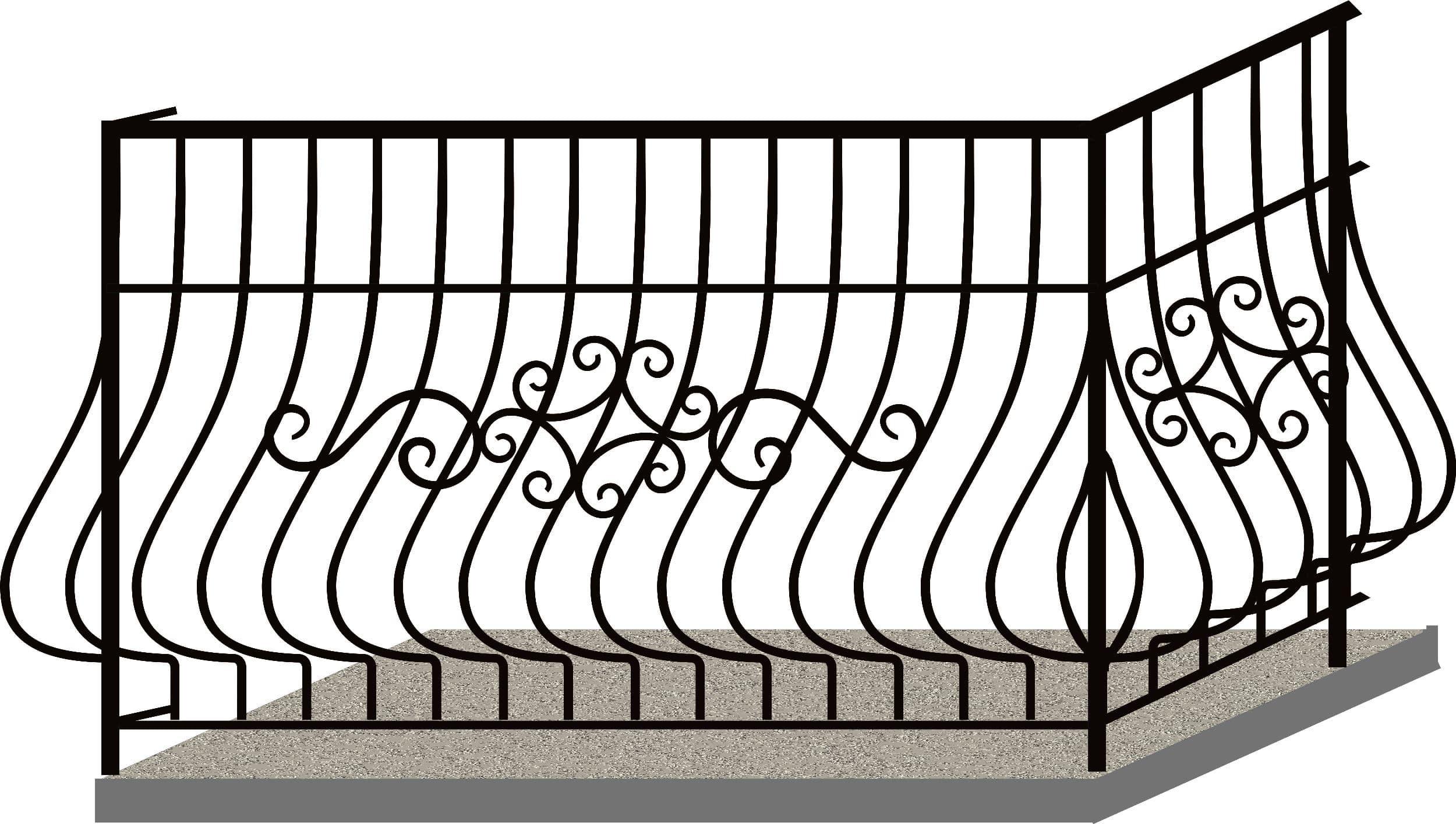 Эскизы балконных ограждений. Код 4-06